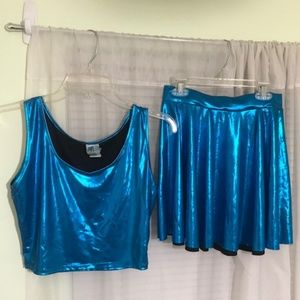 Diamondkit Shiny Acid-Blue Skirt and Top Set